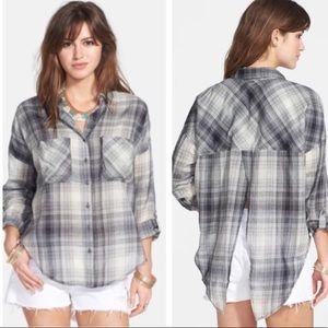 Free People Plaid Button-down with Split Back